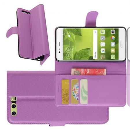 Флип чехол книжка с кошельком подставкой отделениями для карт и магнитной застежкой для Huawei P10 Plus Фиолетовый