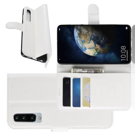 Флип чехол книжка с кошельком подставкой отделениями для карт и магнитной застежкой для Huawei P30 Белый