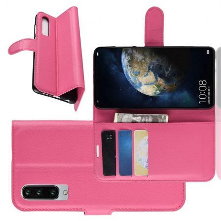 Флип чехол книжка с кошельком подставкой отделениями для карт и магнитной застежкой для Huawei P30 Розовый