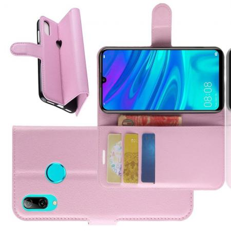 Флип чехол книжка с кошельком подставкой отделениями для карт и магнитной застежкой для Huawei P30 Lite Розовый