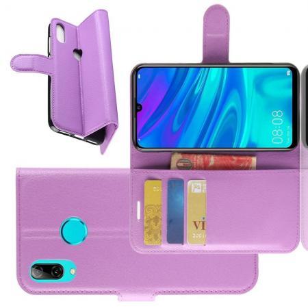 Флип чехол книжка с кошельком подставкой отделениями для карт и магнитной застежкой для Huawei Honor 20S Фиолетовый
