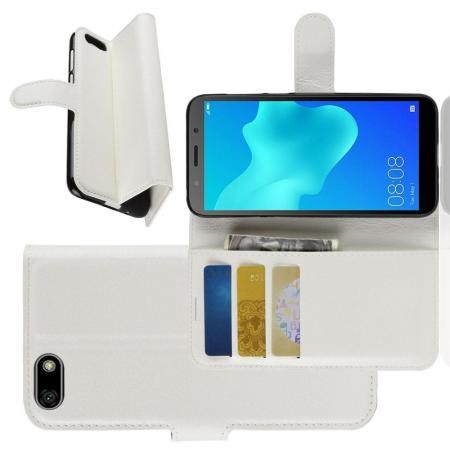 Флип чехол книжка с кошельком подставкой отделениями для карт и магнитной застежкой для Huawei Y5 2018 / Y5 Prime 2018 / Honor 7A Белый