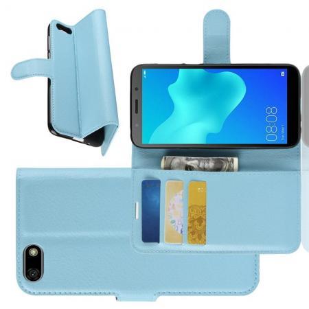 Флип чехол книжка с кошельком подставкой отделениями для карт и магнитной застежкой для Huawei Y5 2018 / Y5 Prime 2018 / Honor 7A Голубой