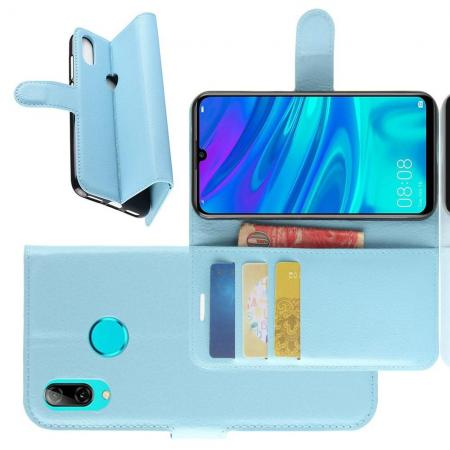 Флип чехол книжка с кошельком подставкой отделениями для карт и магнитной застежкой для Huawei Y7 2019 Голубой