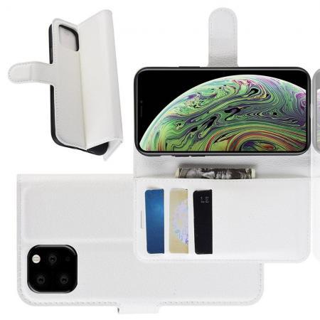 Флип чехол книжка с кошельком подставкой отделениями для карт и магнитной застежкой для iPhone 11 Pro Белый