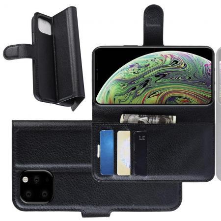 Флип чехол книжка с кошельком подставкой отделениями для карт и магнитной застежкой для iPhone 11 Pro Черный