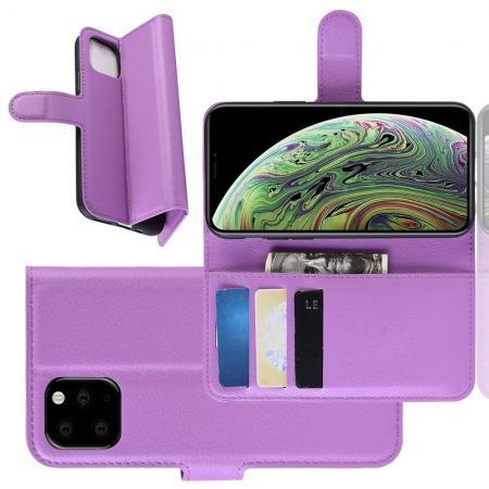 Флип чехол книжка с кошельком подставкой отделениями для карт и магнитной застежкой для iPhone 11 Pro Фиолетовый
