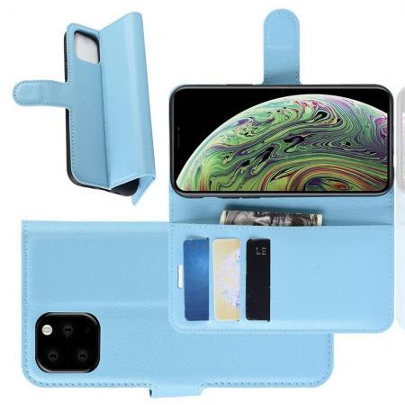 Флип чехол книжка с кошельком подставкой отделениями для карт и магнитной застежкой для iPhone 11 Pro Голубой