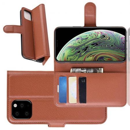 Флип чехол книжка с кошельком подставкой отделениями для карт и магнитной застежкой для iPhone 11 Pro Коричневый