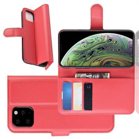 Флип чехол книжка с кошельком подставкой отделениями для карт и магнитной застежкой для iPhone 11 Pro Красный