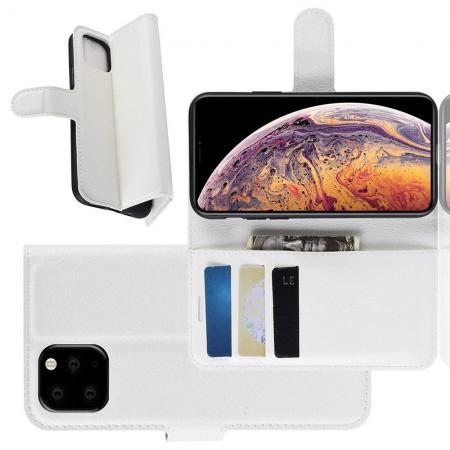Флип чехол книжка с кошельком подставкой отделениями для карт и магнитной застежкой для iPhone XI Max Белый