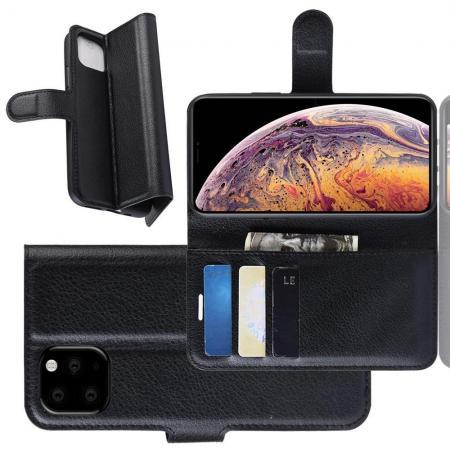 Флип чехол книжка с кошельком подставкой отделениями для карт и магнитной застежкой для iPhone XI Max Черный