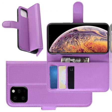 Флип чехол книжка с кошельком подставкой отделениями для карт и магнитной застежкой для iPhone XI Max Фиолетовый