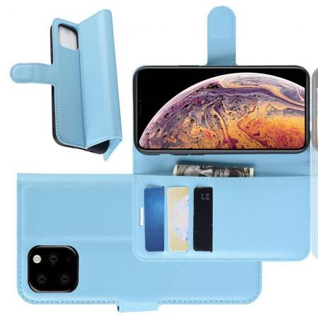 Флип чехол книжка с кошельком подставкой отделениями для карт и магнитной застежкой для iPhone XI Max Голубой