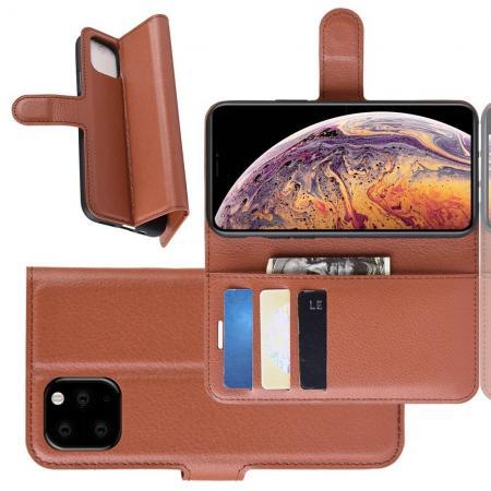 Флип чехол книжка с кошельком подставкой отделениями для карт и магнитной застежкой для iPhone XI Max Коричневый