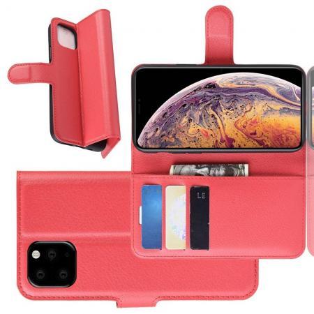 Флип чехол книжка с кошельком подставкой отделениями для карт и магнитной застежкой для iPhone XI Max Красный