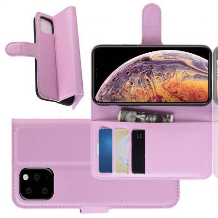 Флип чехол книжка с кошельком подставкой отделениями для карт и магнитной застежкой для iPhone XI Max Розовый