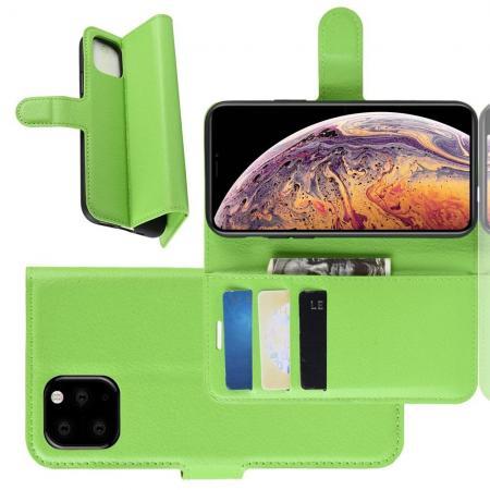 Флип чехол книжка с кошельком подставкой отделениями для карт и магнитной застежкой для iPhone XI Max Зеленый