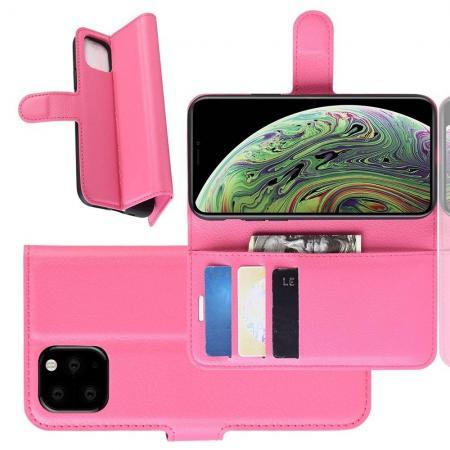 Флип чехол книжка с кошельком подставкой отделениями для карт и магнитной застежкой для iPhone 11 Pro Розовый