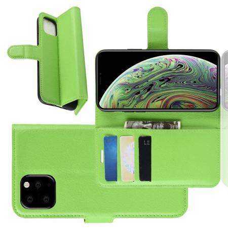Флип чехол книжка с кошельком подставкой отделениями для карт и магнитной застежкой для iPhone 11 Pro Зеленый