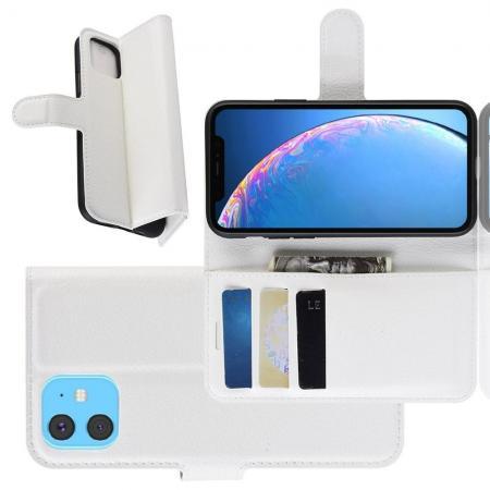 Флип чехол книжка с кошельком подставкой отделениями для карт и магнитной застежкой для iPhone 11 Белый