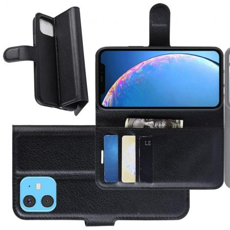Флип чехол книжка с кошельком подставкой отделениями для карт и магнитной застежкой для iPhone 11 Черный