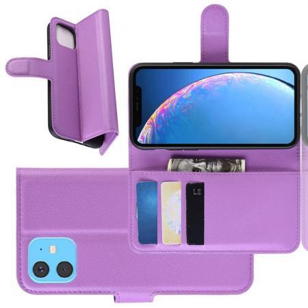 Флип чехол книжка с кошельком подставкой отделениями для карт и магнитной застежкой для iPhone 11 Фиолетовый