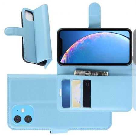 Флип чехол книжка с кошельком подставкой отделениями для карт и магнитной застежкой для iPhone 11 Голубой