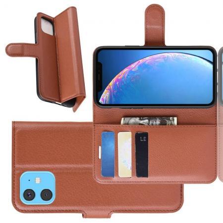 Флип чехол книжка с кошельком подставкой отделениями для карт и магнитной застежкой для iPhone 11 Коричневый