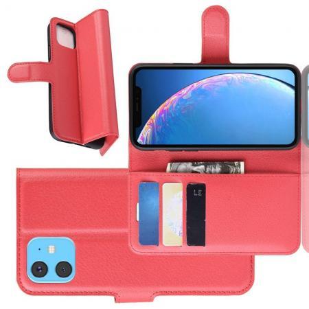 Флип чехол книжка с кошельком подставкой отделениями для карт и магнитной застежкой для iPhone 11 Красный