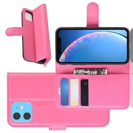 Флип чехол книжка с кошельком подставкой отделениями для карт и магнитной застежкой для iPhone 11 Розовый
