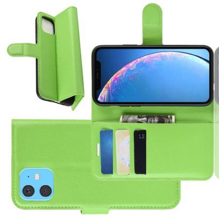 Флип чехол книжка с кошельком подставкой отделениями для карт и магнитной застежкой для iPhone 11 Зеленый