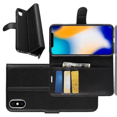 Флип чехол книжка с кошельком подставкой отделениями для карт и магнитной застежкой для iPhone XS Max Черный