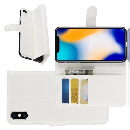 Флип чехол книжка с кошельком подставкой отделениями для карт и магнитной застежкой для iPhone XS Max Белый