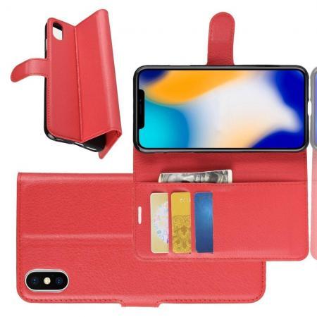 Флип чехол книжка с кошельком подставкой отделениями для карт и магнитной застежкой для iPhone XS Max Красный