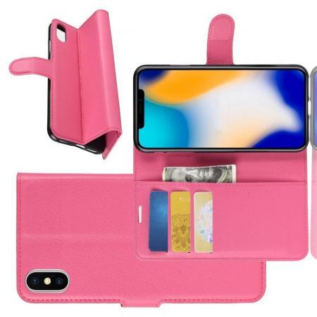 Флип чехол книжка с кошельком подставкой отделениями для карт и магнитной застежкой для iPhone XS Max Розовый