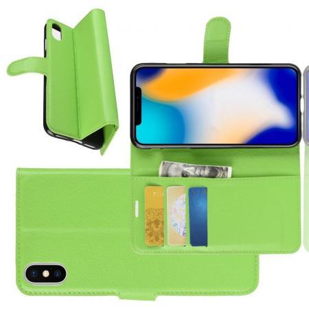 Флип чехол книжка с кошельком подставкой отделениями для карт и магнитной застежкой для iPhone XS Max Зеленый
