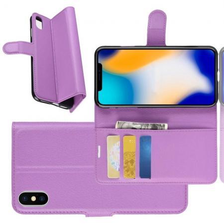 Флип чехол книжка с кошельком подставкой отделениями для карт и магнитной застежкой для iPhone XS Max Фиолетовый