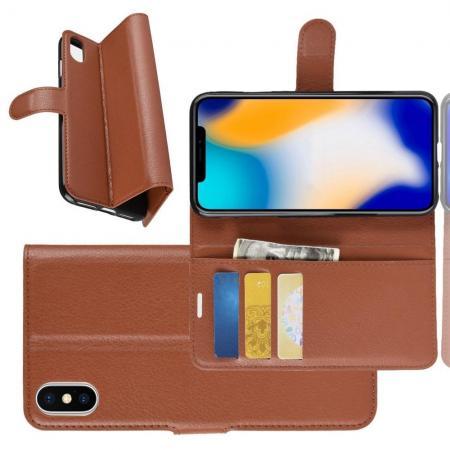 Флип чехол книжка с кошельком подставкой отделениями для карт и магнитной застежкой для iPhone XS Max Коричневый
