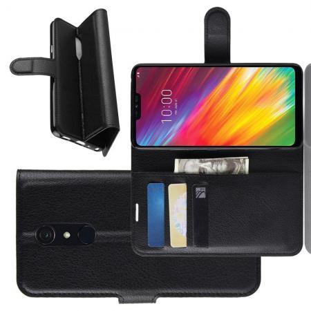 Флип чехол книжка с кошельком подставкой отделениями для карт и магнитной застежкой для LG G7 Fit Черный