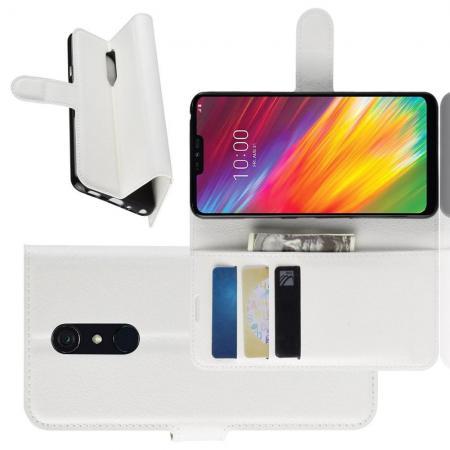 Флип чехол книжка с кошельком подставкой отделениями для карт и магнитной застежкой для LG G7 Fit Белый