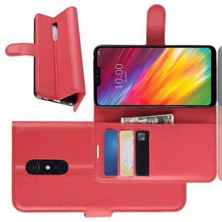 Флип чехол книжка с кошельком подставкой отделениями для карт и магнитной застежкой для LG G7 Fit Красный