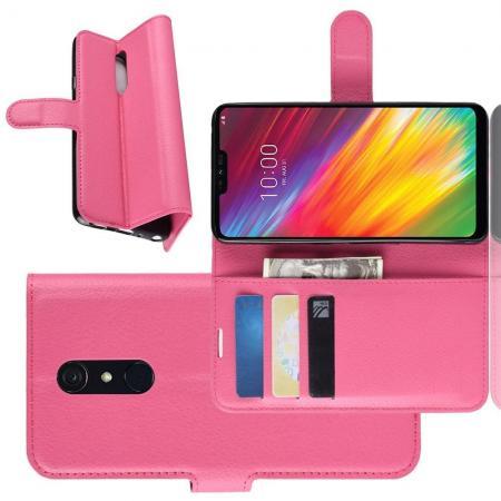Флип чехол книжка с кошельком подставкой отделениями для карт и магнитной застежкой для LG G7 Fit Розовый