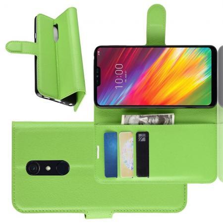 Флип чехол книжка с кошельком подставкой отделениями для карт и магнитной застежкой для LG G7 Fit Зеленый