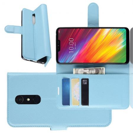 Флип чехол книжка с кошельком подставкой отделениями для карт и магнитной застежкой для LG G7 Fit Голубой