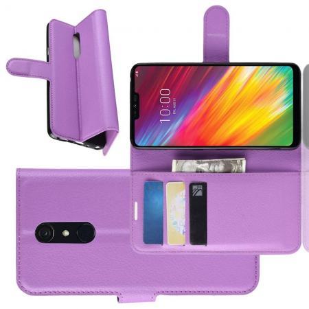 Флип чехол книжка с кошельком подставкой отделениями для карт и магнитной застежкой для LG G7 Fit Фиолетовый