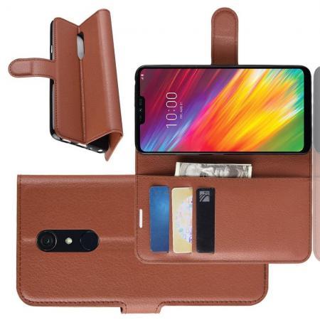 Флип чехол книжка с кошельком подставкой отделениями для карт и магнитной застежкой для LG G7 Fit Коричневый