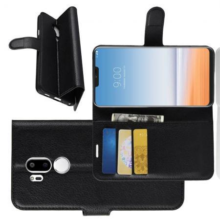 Флип чехол книжка с кошельком подставкой отделениями для карт и магнитной застежкой для LG G7 ThinQ Черный