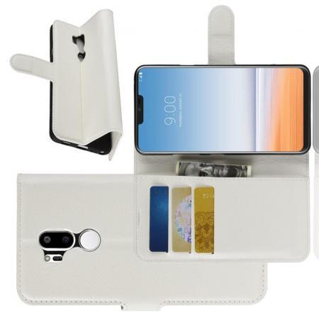Флип чехол книжка с кошельком подставкой отделениями для карт и магнитной застежкой для LG G7 ThinQ Белый