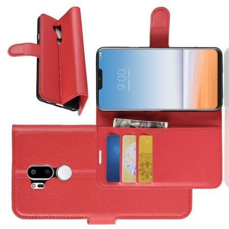 Флип чехол книжка с кошельком подставкой отделениями для карт и магнитной застежкой для LG G7 ThinQ Красный